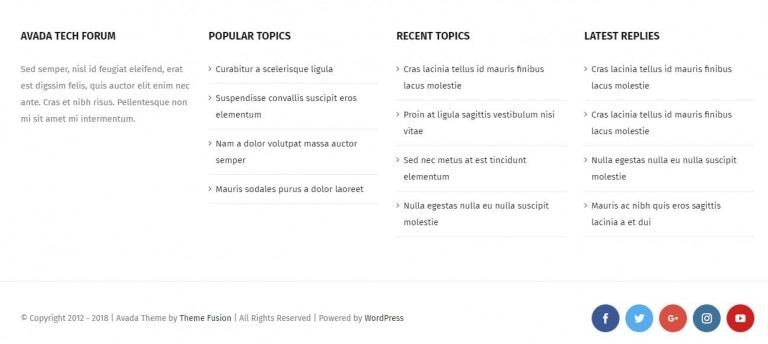 Avada主题设置网站底部样式