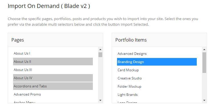 Blade主题导入演示数据