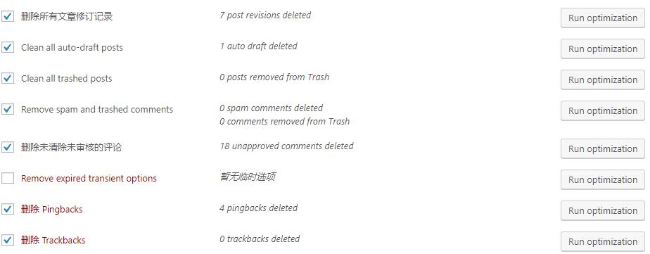 WP-Optimize清理数据库完成