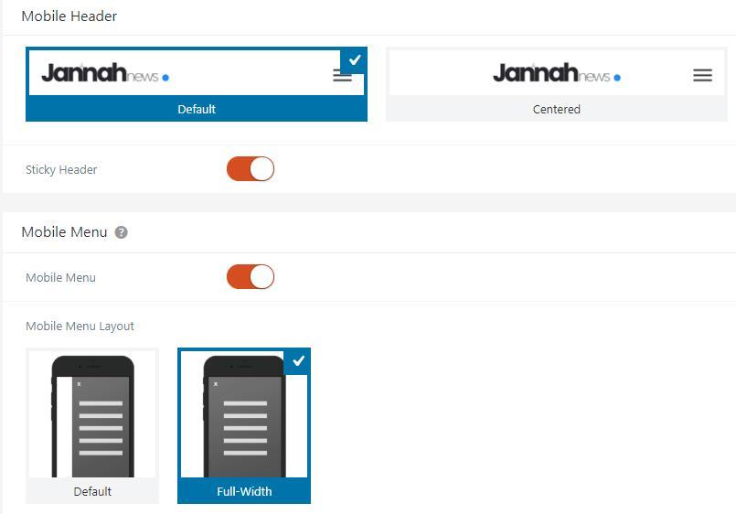 jannah主题手机端设置