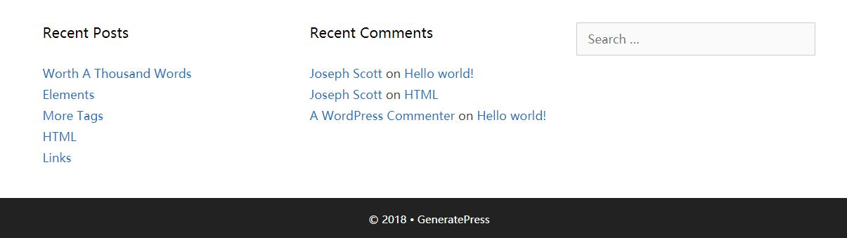 GeneratrePress页面底部设置