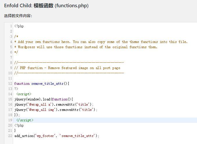 enfold子主题编辑php代码