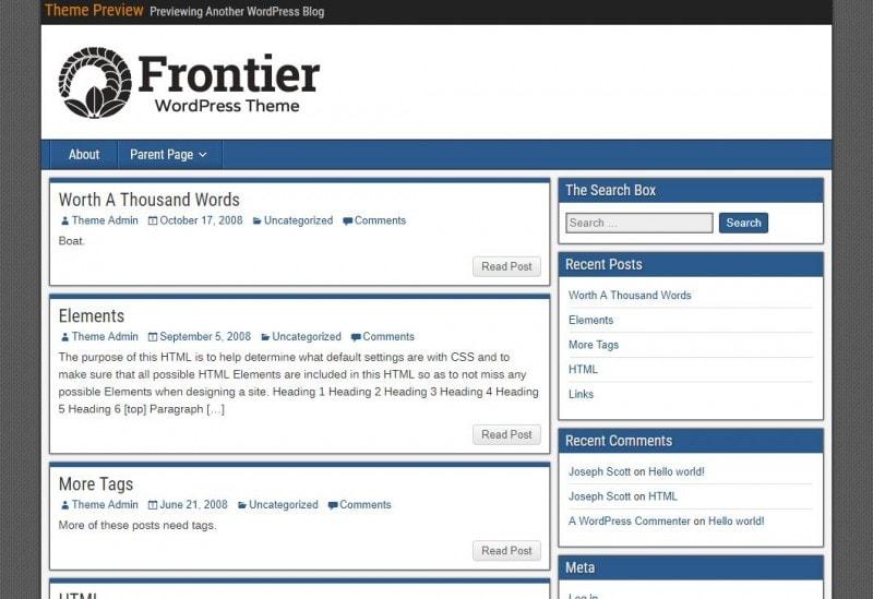 Wordpress 经典风格主题 Frontier