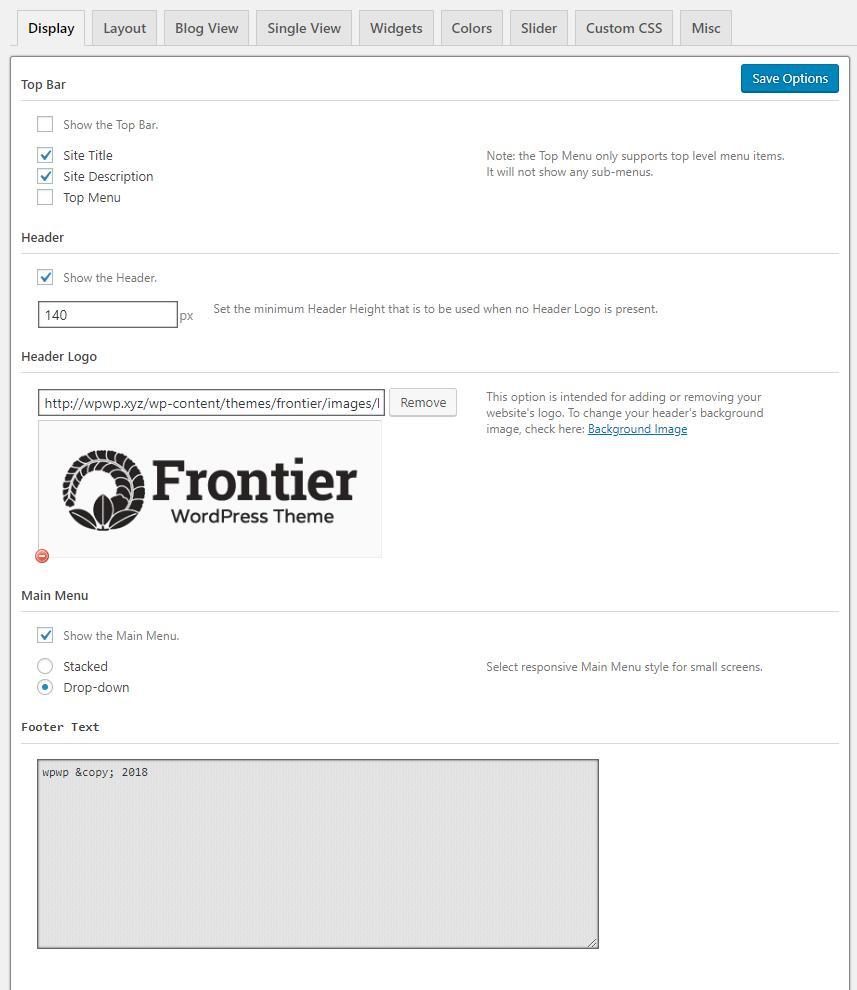 Frontier设置网站头部和底部