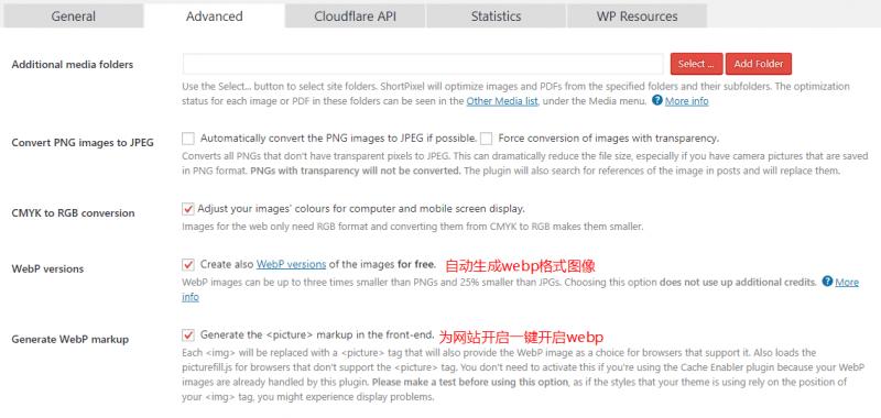 shortpixel生成webp图像
