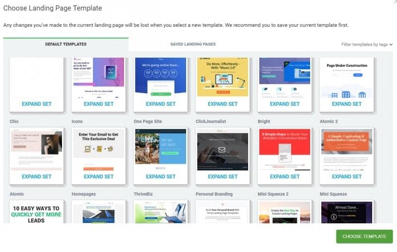 Thrive Architect营销页面模版