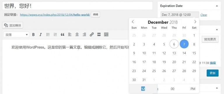 Post Expiration Date 为WordPress文章设置过期时间
