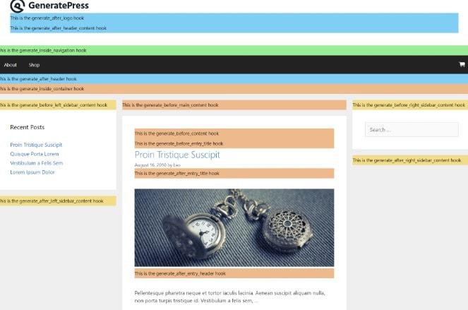 GeneratePress Hooks使用教程
